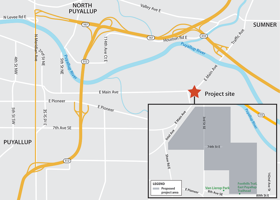 Map of the Knutson Farm EIS project site and surrounding area. The project site is located in unincorporated Pierce County, bordered by Puyallup to the west and Sumner to the north. The project site is indicated on the map by a red star positioned just east of the intersection of East Main Avenue, Intel Avenue, and Shaw Road East. The Puyallup River is shown on the map, meandering generally from west to east. A more detailed map of the project area is included in the lower righthand corner. The detailed map indicates the proposed project area in contrasted shading, bordered by East Main Avenue, Intel Avenue, Shaw Road East, East Pioneer, and 8th Avenue Southeast. The proposed project area is adjacent to the Puyallup River, which runs to the east of the proposed project area. Van Lierop Park and the Foothills Trail East Puyallup Trailhead are indicated at the south end of the proposed project boundary.